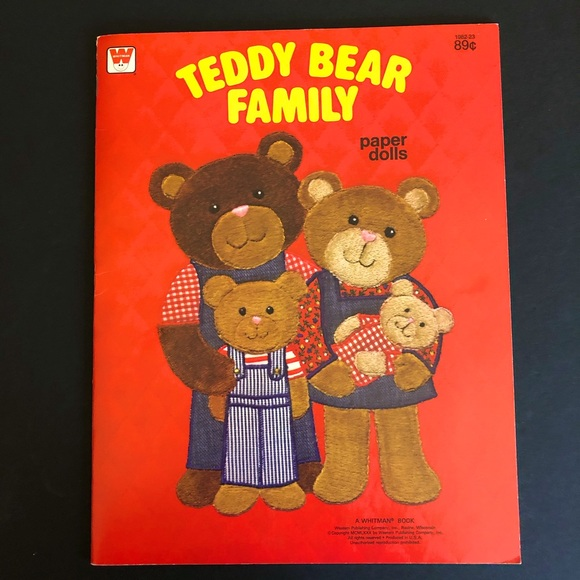 VTG Uncut Teddy Bear Family Paper Dolls - Whitman